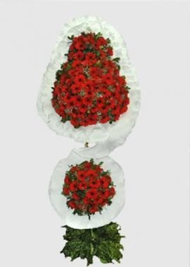 Kırmızı 120 Gerberadan Çift Katlı Sepet