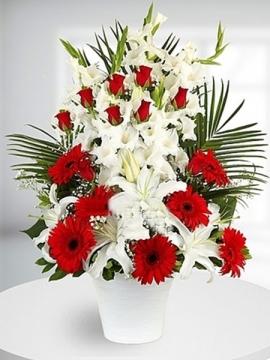 Çiçek Aranjman Kırmızı Beyaz