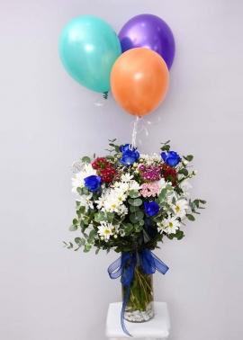 Mavi Gül-Papatya Çiçek Uçan Balon