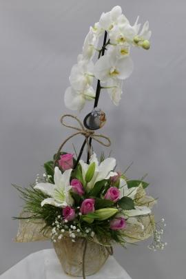 Beyaz Orkide Gül ve Lilyum