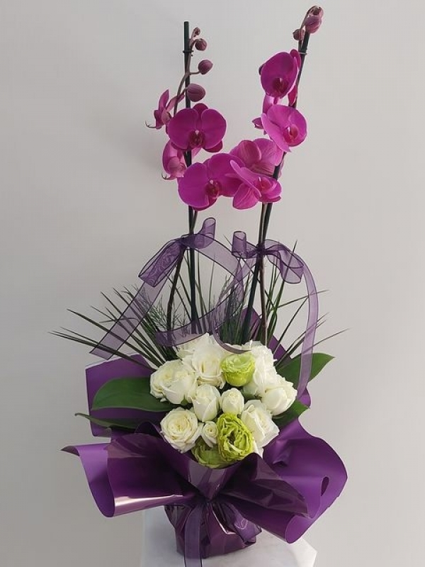 Mor Orkide Beyaz Gül Lisyantus