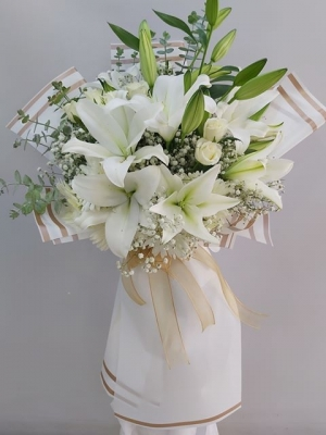 Beyaz Gül Lilyum Buketi